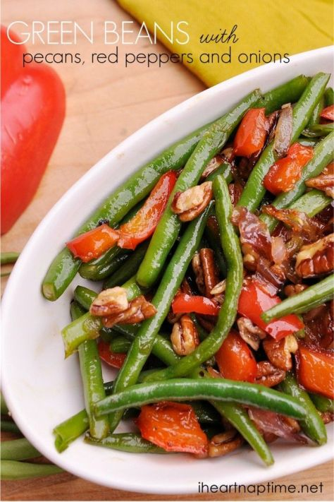 Green Beans with Red Peppers Pecans
